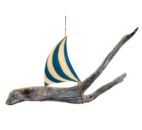 Jan Guest coastal art - ceramic and drifwood sailing boat, the ideal nautical gift